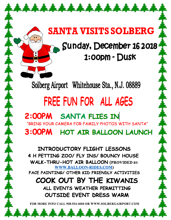 santa fly in rescheduled to sunday december 16 2018 solberg airport